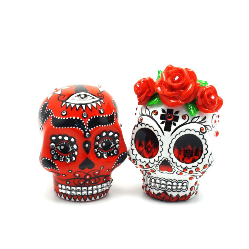 day of the dead wedding cake topper mexican skull 00037