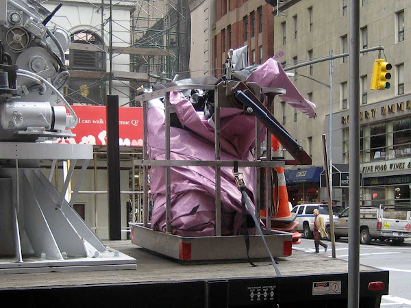 Crumpled Billboard - On the installer's truck on 8th Ave. at 44th St.