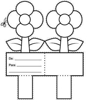 Fichas Infantiles: Tarjeta de flores para colorear