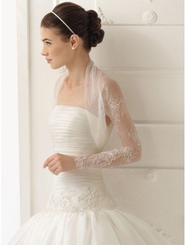 organza strapless ball gown wedding dress with long sleeves jacket