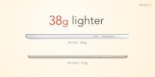 Mi Pad 2 comparado com peso do Mi Pad