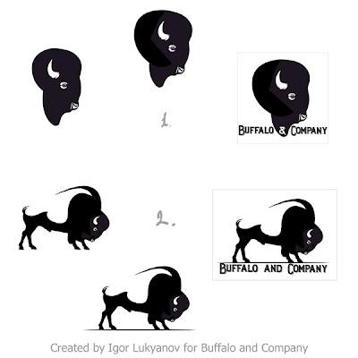 bison, buffalo realistic logo