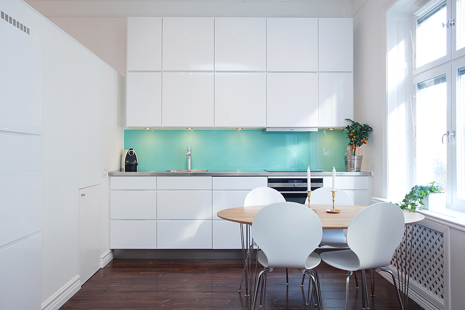 White Kitchen Aqua Accents adventurous design quest: impressive aqua accent in the kitchen