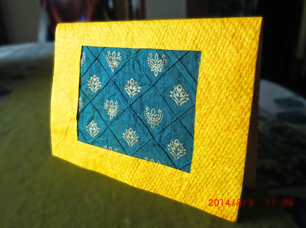 Recycled fabric greeting card by Jaya