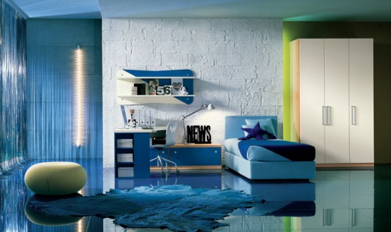 Bedroom unique design for Blue teenage bedroom ideas