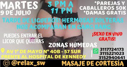 Martes de 3 pm a 11 pm SHOW EN VIVO CON SEXYS CHICAS Y PAREJAS SW
