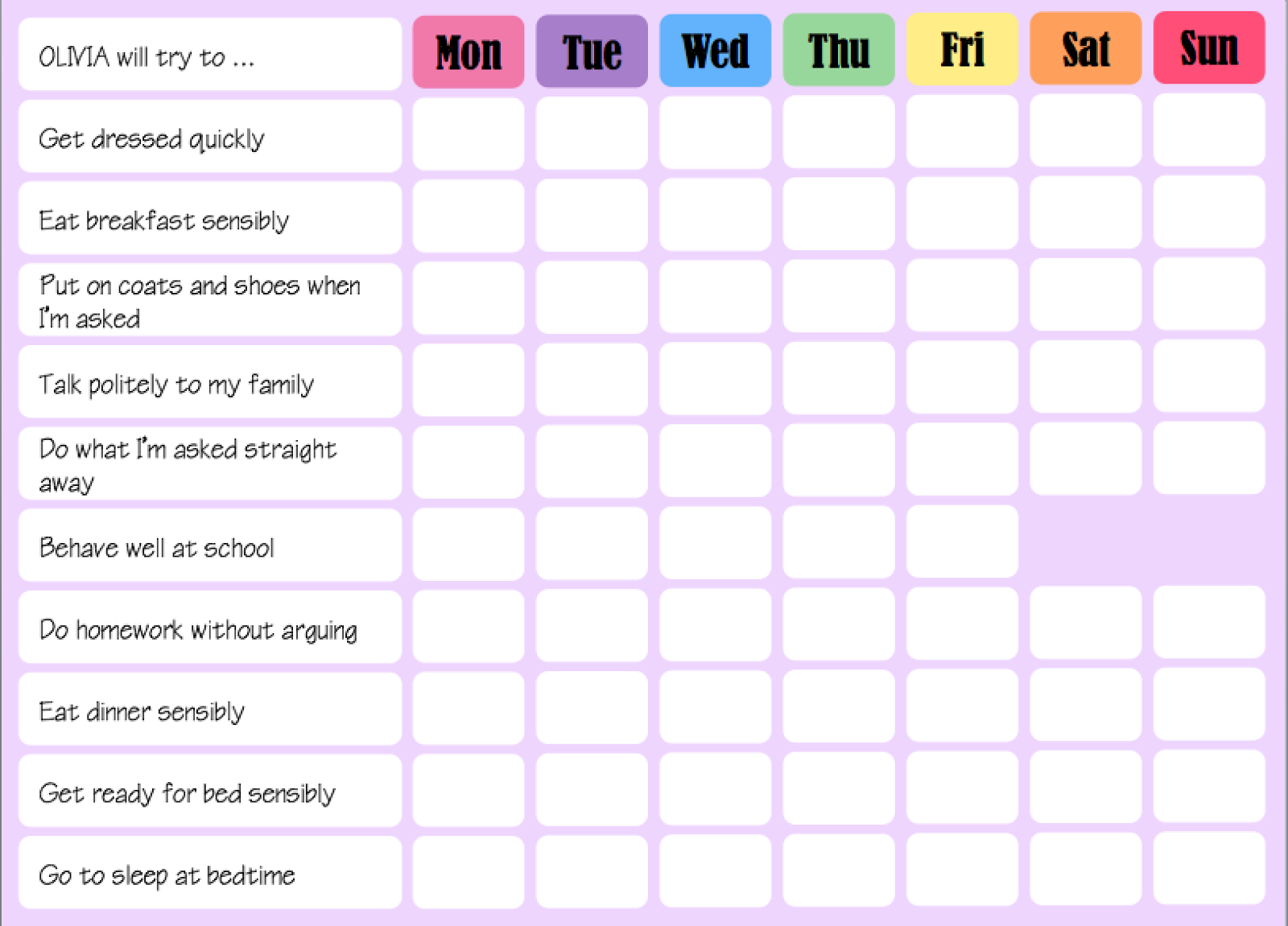 Random Crafting Adventures Our Behaviour Pocket Money System – Behaviour Chart Template