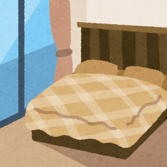処分するニトリのベッドのイメージイラスト