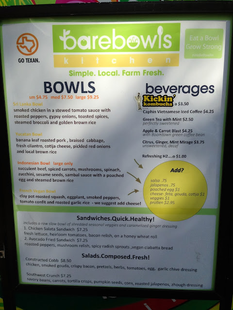 Bare Bowls Kitchen Menu
