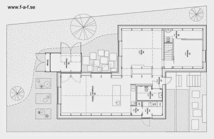 Plano de planta de la moderna casa de madera y aluminio