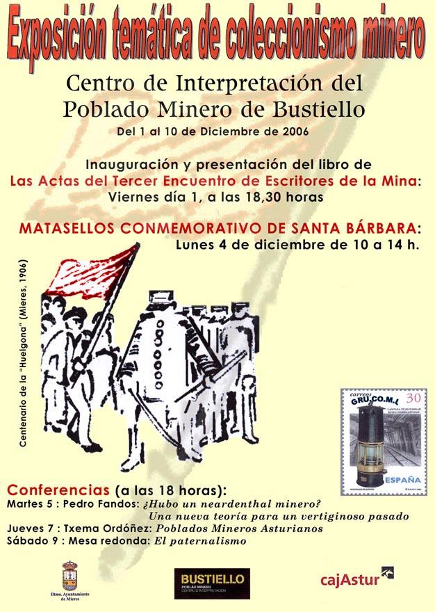 Cartel de la exposición de coleccionismo minero de Grucomi en Bustiello