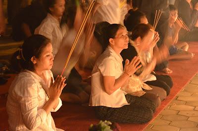Death of King Norodom Sihanouk, mourners at Royal Palace, Phnom Penh, Cambodia