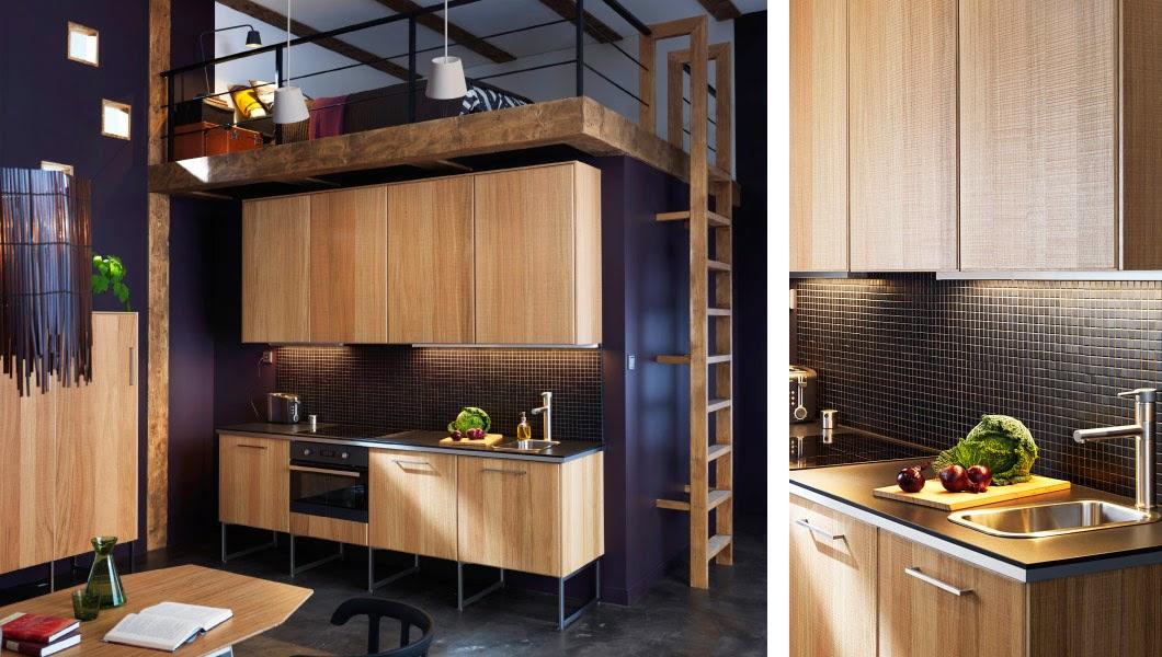 Una cocina de madera de ikea