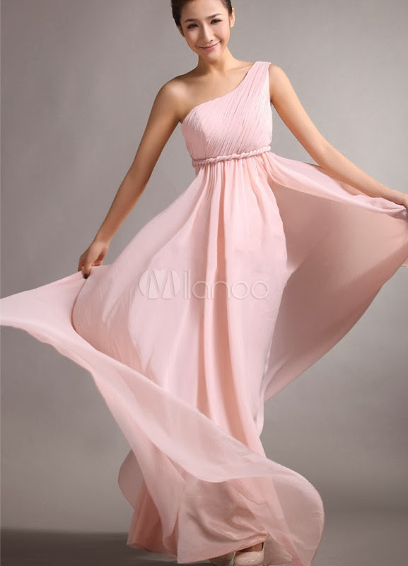 A-line Pink Chiffon Sash One-Shoulder Floor-Length Bridesmaid Dress