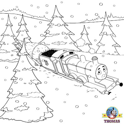 Deep winter snow Childrens work sheets color pages printable Thomas and friends James train engine