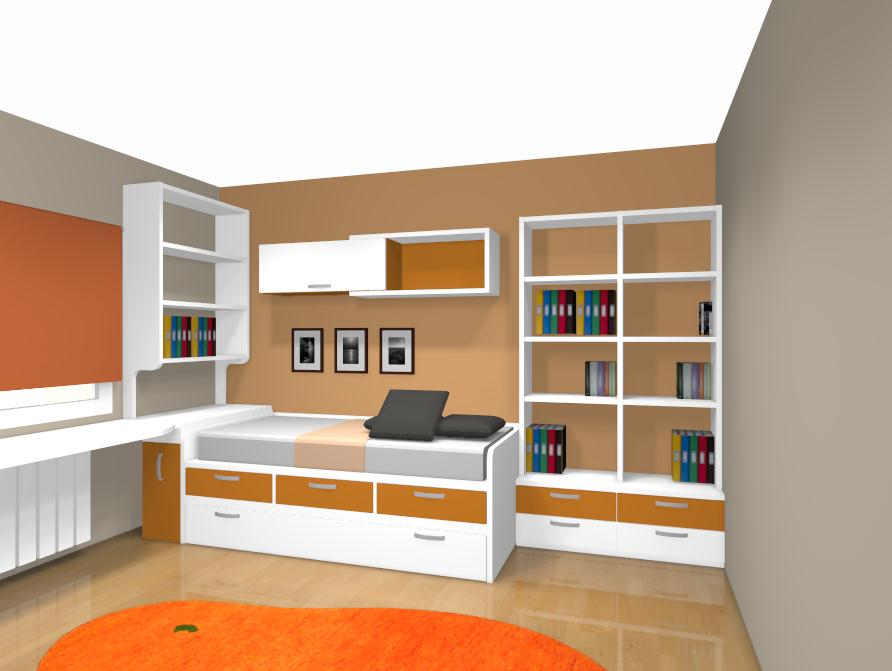 Proyecto de dormitorio juvenil con cama compacta