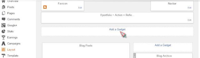 blogger add a gadget below header
