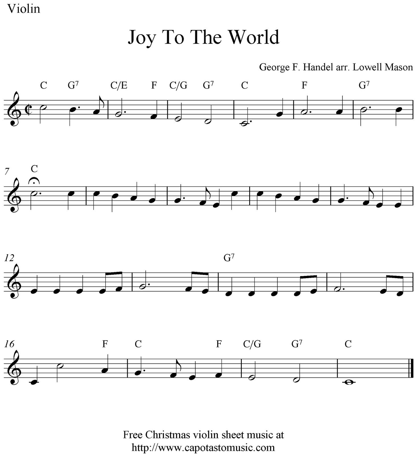 Joy To The World, free Christmas violin sheet music notes