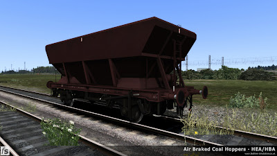Fastline Simulation - HBA/HEA Coal Hoppers: Early HBA hopper with central ladder and small supports at the hopper corners in plain maroon livery.