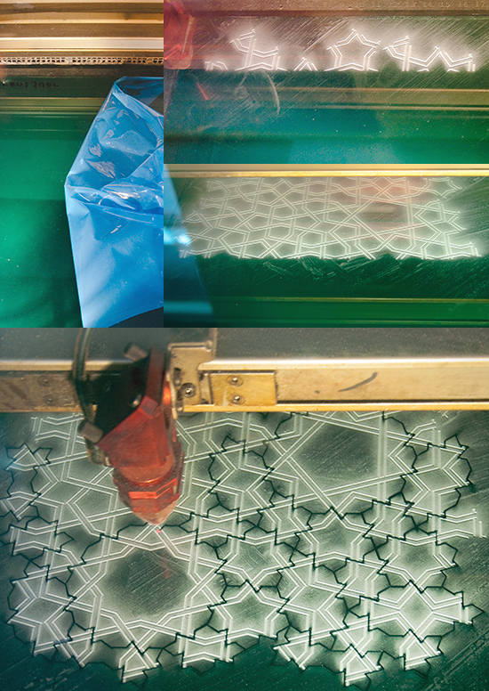 Laser cutting girih tiles