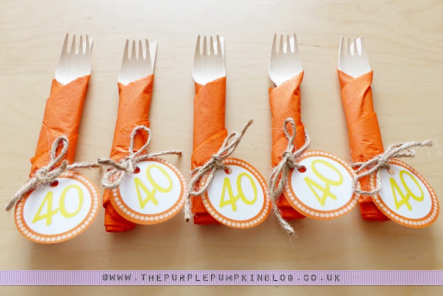 [Orange & Yellow Colour Theme] 40th Birthday Party Cutlery & Napkin Bundles