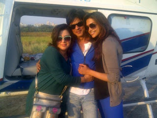 Shahrukh and Deepika on the sets of Chennai Express
