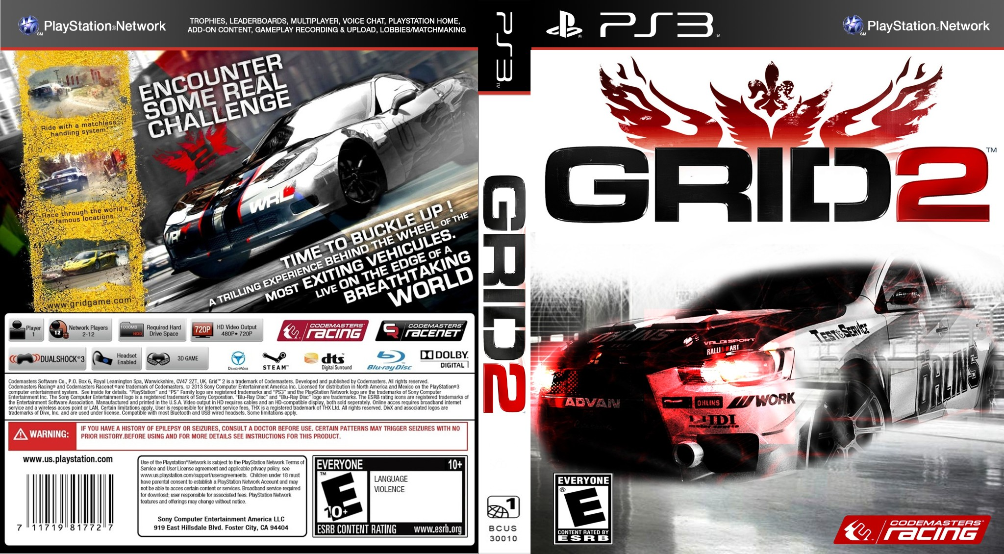 Capa GRID 2 PS3