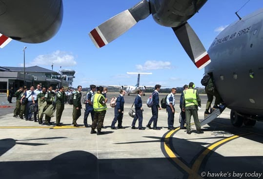About 60 uniformed army cadets, sea cadets and air cadets (including my daughter) from Ruahine, Hastings, Napier and Gisborne left Napier Airport on a RNZAF Hercules C-130, flew to Ohakea, then bussed to Cadet 150, a week-long exercise at Waiouru. photograph