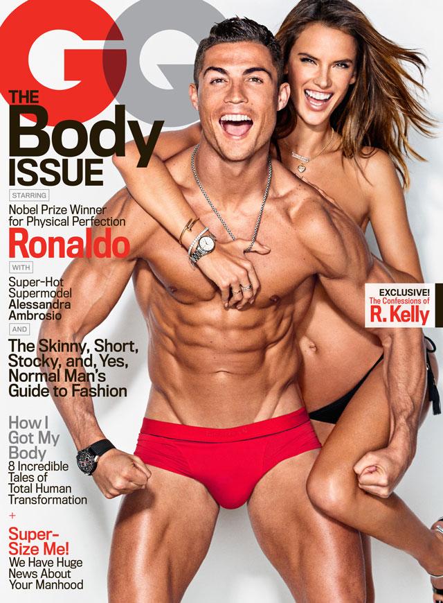 Cristiano Ronaldo mostra o corpo sarado ao lado de Alessandra Ambrósio na capa da GQ Americana. Foto: Ben Watt