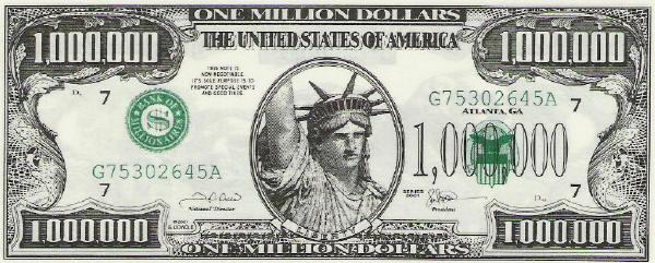 1 million dollars bill
