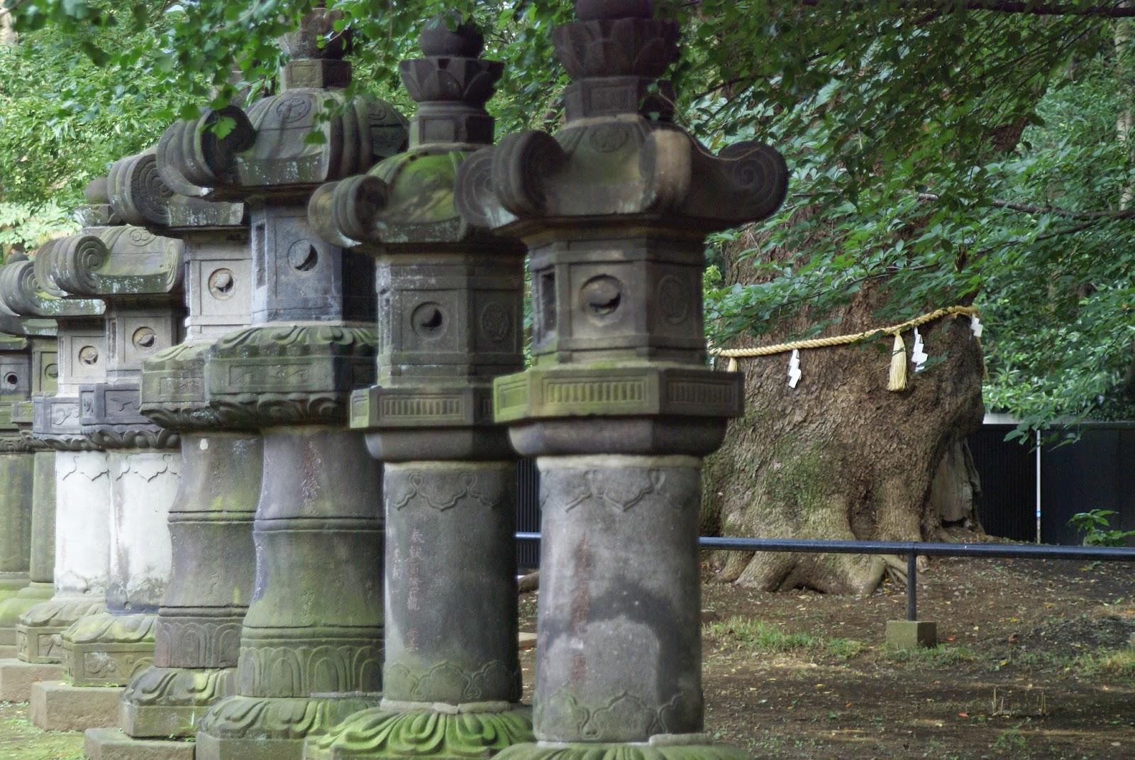 alignement de lanternes japonaises en pierre