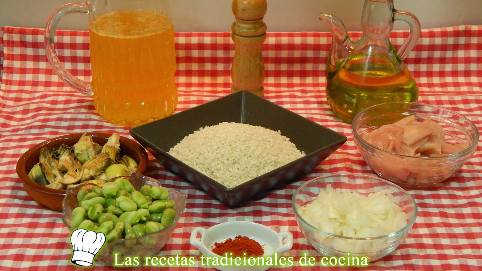 Receta fácild e arroz con pollo, alcachofas y habas