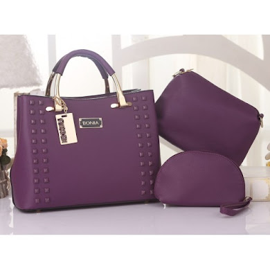BONIA DESIGNER BAG - 3 IN 1 SET ( PURPLE )