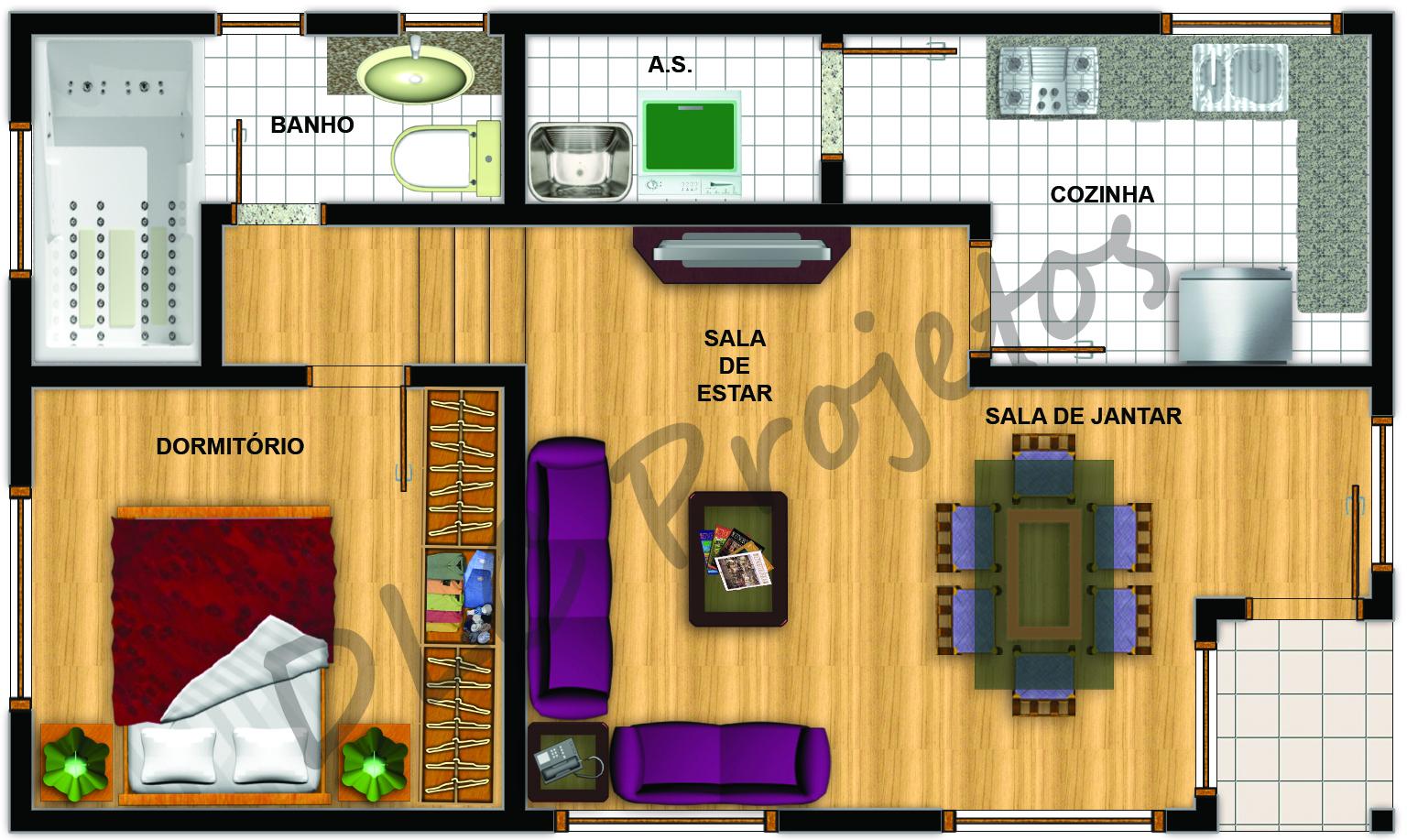 Dlc projetos planta baixa humanizada de casa com 1 dormit rio - Plantas para dormitorio ...