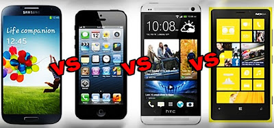 iPhone 5-Nokia Lumia 1020-HTC One-Samsung Galaxy S4-Specs