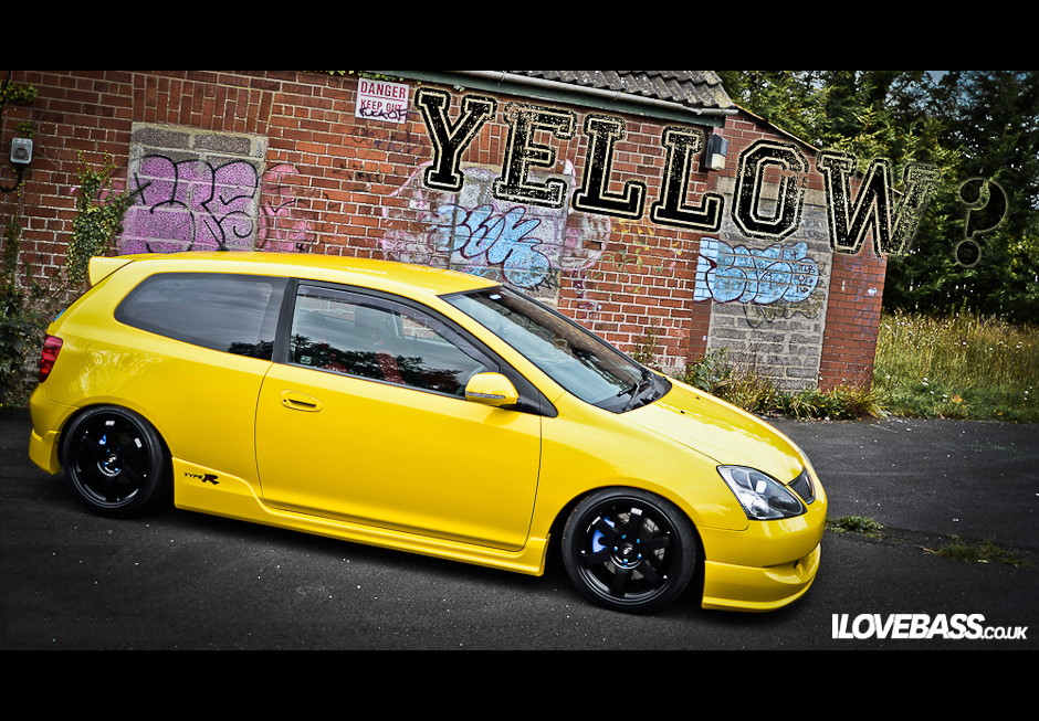 Honda Civic Type R, EP3, VII, kultowy model, hot hatchback, żółty, czarne felgi, tuning, VTEC is kicking in