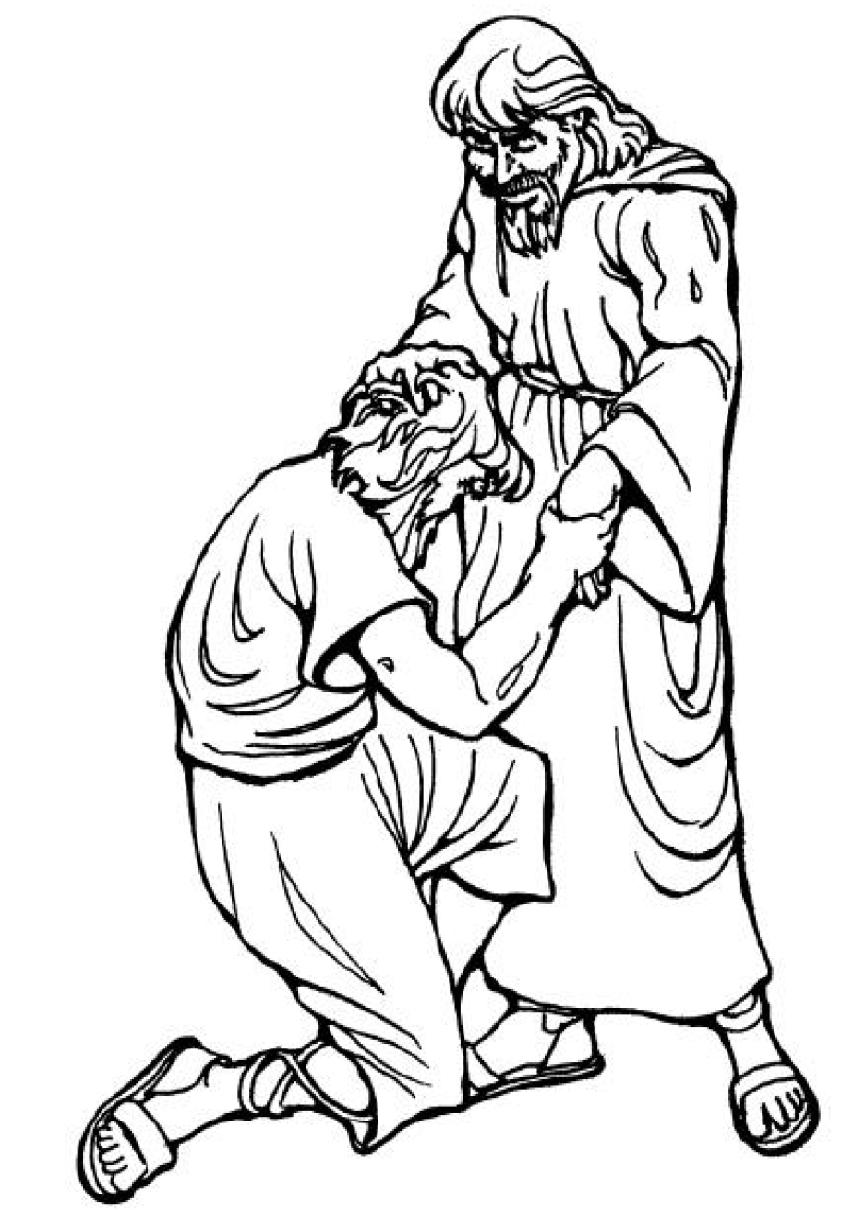 Dibujos Cristianos para colorear: Jesus es vendido por sus hermanos