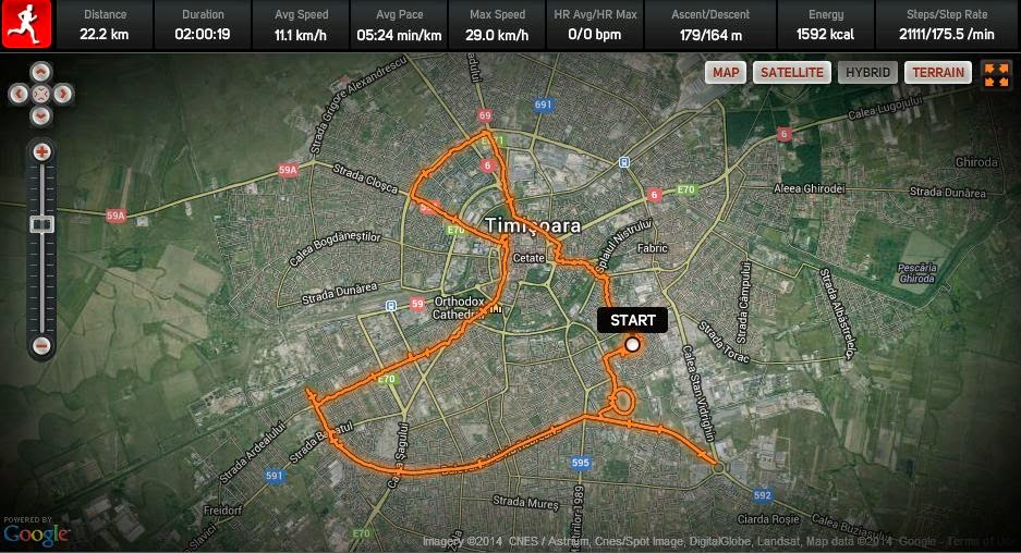 Alergare prin ploaia torentiala din Timisoara. Inundatii cu endorfine. Harta