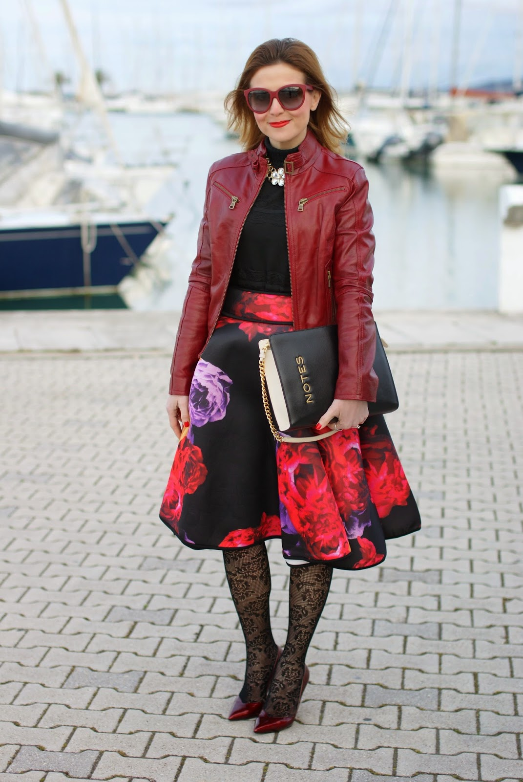 full flower print midi skirt, red leather jacket, Calzedonia crochet tights, Moschino notes bag, Fashion and Cookies, fashion blogger