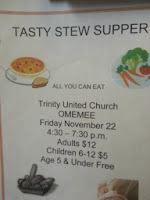 Trinity United Chuch Omemee Kawartha Lakes Stew Supper Poster Nov 2013