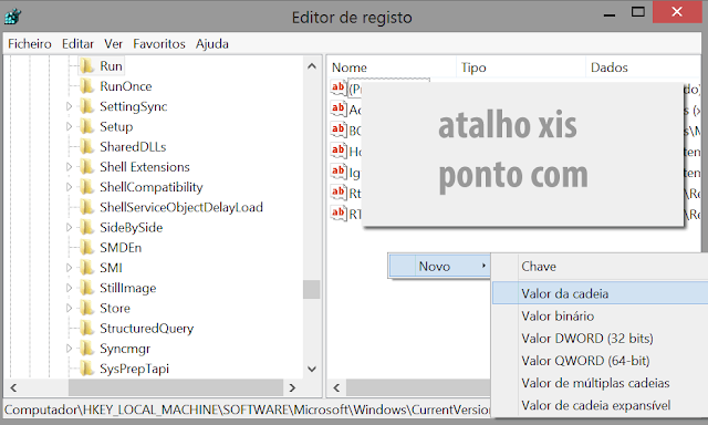 Gestor de Registo do Sistema Operativo Windows