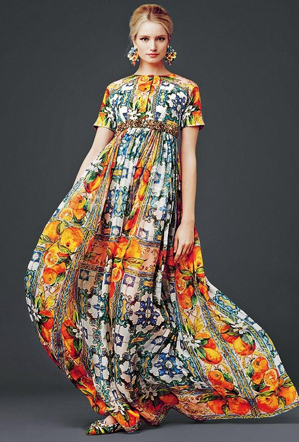 dolce and gabbana dress modest printed maxi dress with sleeves colorful stylish beautiful fashion Mode-sty mormon lds jewish christian pentecostal muslim hijab tznius islamic