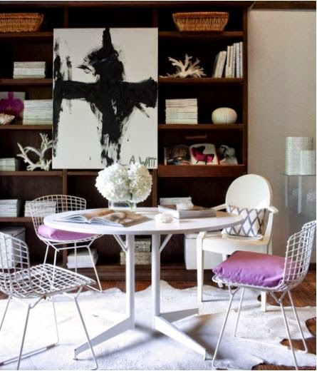 transitional room modern art saarinen table