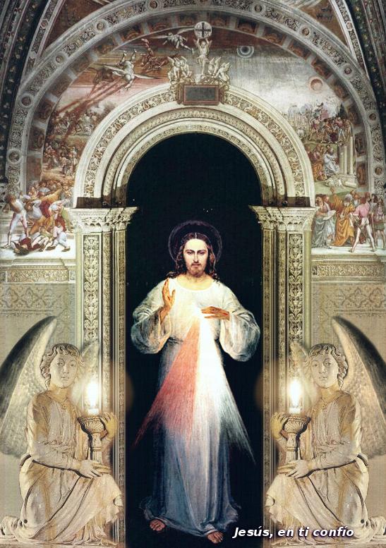 divina misericordia con angeles de piedra