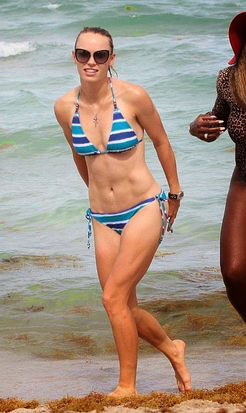 Caroline Wozniacki wears a blue bikini at Miami on Sunday,‭ ‬June‭ ‬1,‭ ‬2014
