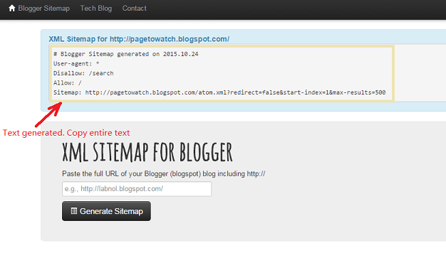 how to generate blogger sitemap and update it in google webmasters