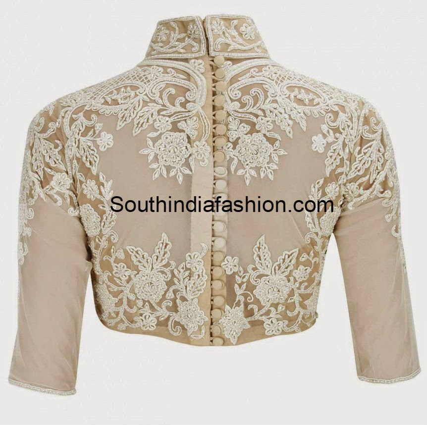 high neck blouse with buttons