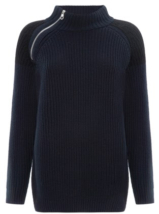 whistles zip neck chunky knit