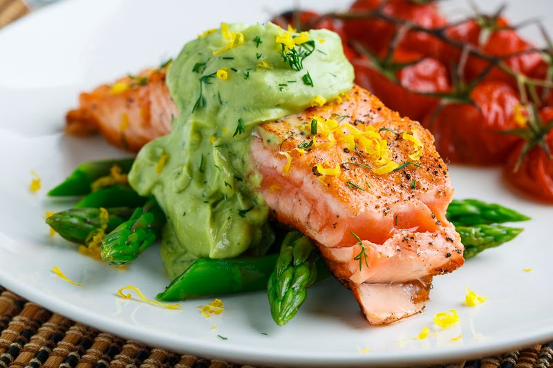 Seared Salmon In Dill Avodaise Avocado Hollandaise Sauce