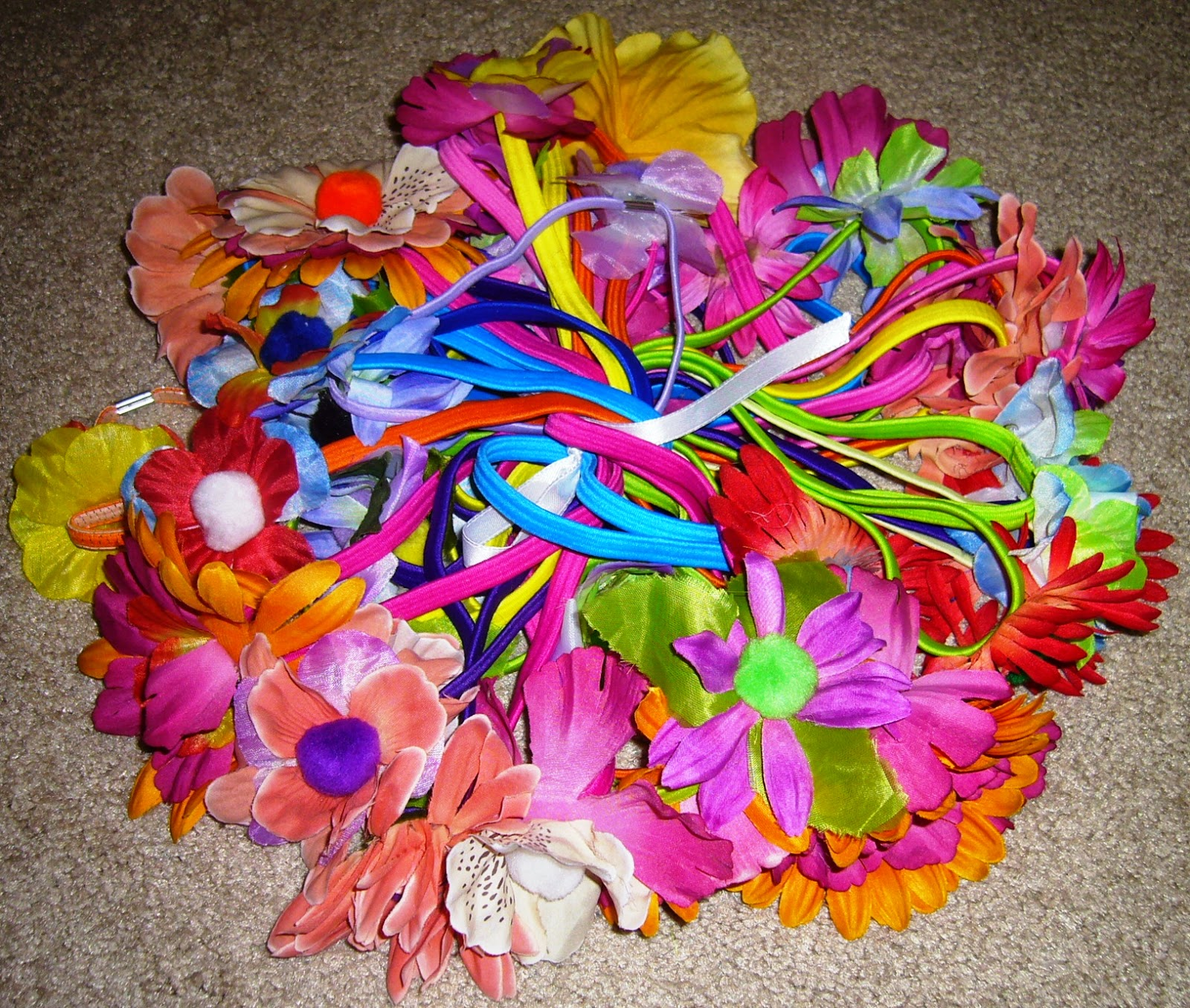 Pile of Posies headbands for shoe boxes